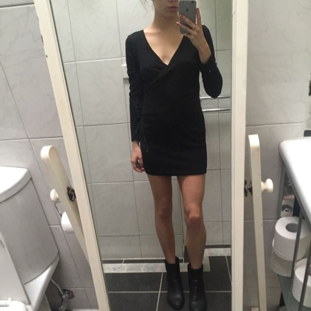 Black Cross Front Mini Dress