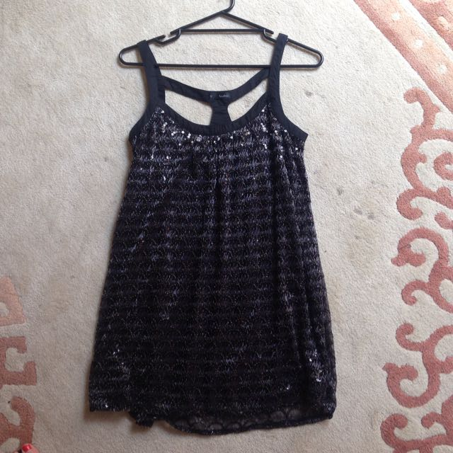 Black Flapper Dress With Silver Detailing
