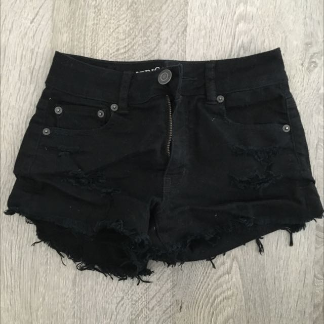 American Eagle Black Ripped Short Shorts