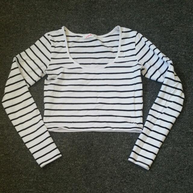 Black White Striped Long Sleeve Cropped Shirt XS Size