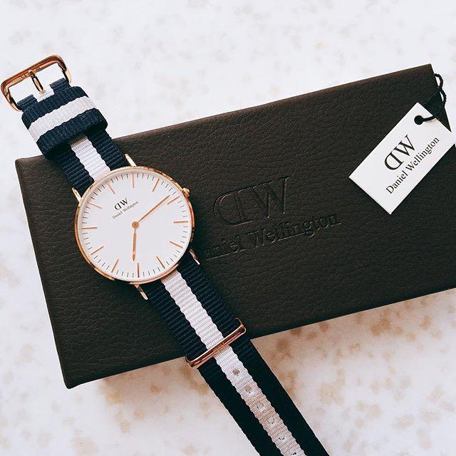 DW 錶帶 藍白 尼龍