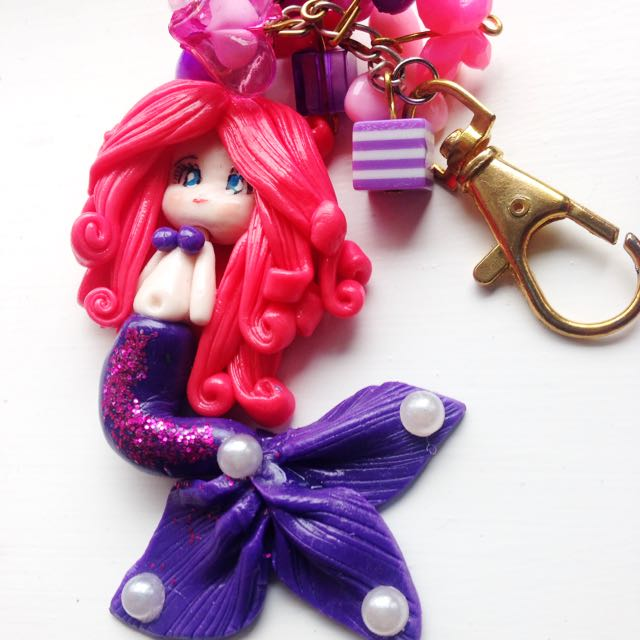 Handmade Clay Mermaid Keychain