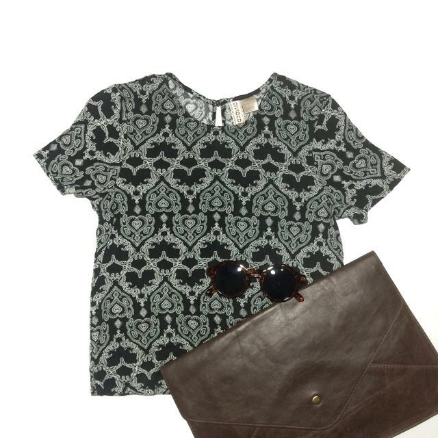 H&M divided black baroque crop top [REPRICED]