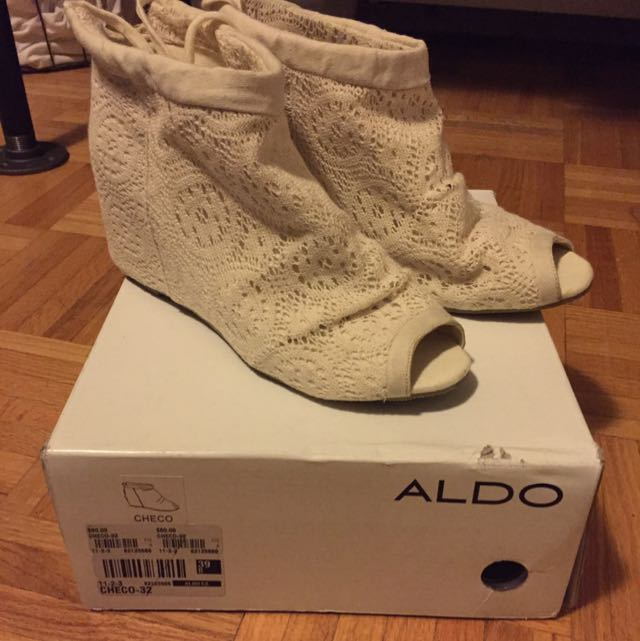 Ivory Lace Wedge Open Toe Bootie