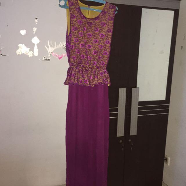 jumpsuit brukat ungu baru sekali pakai