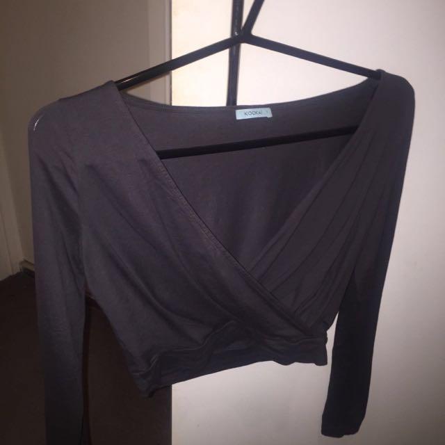 Kookai Wrap Long Sleeve Crop - Charcoal