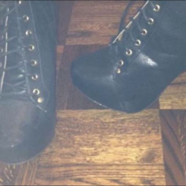 Laced Black Booties Worn Once Size 8 $25