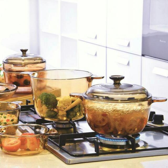 Made In USA Visions 6 Piece Vessel Set, Corning Pyrex Casserole Versa  VS-330, New Direct