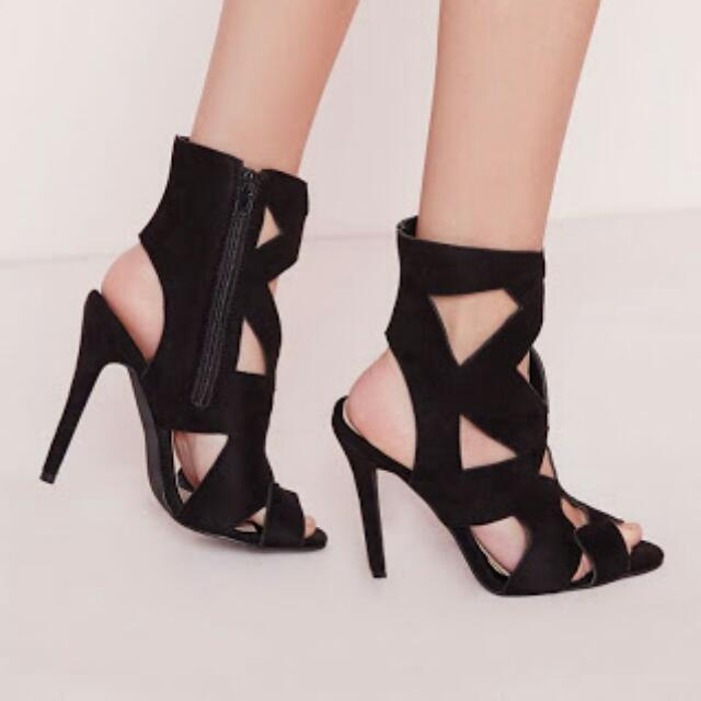 Missguided Black Heeled Sandals (Size 5)