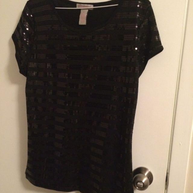Prestige Sequinned T-shirt Black