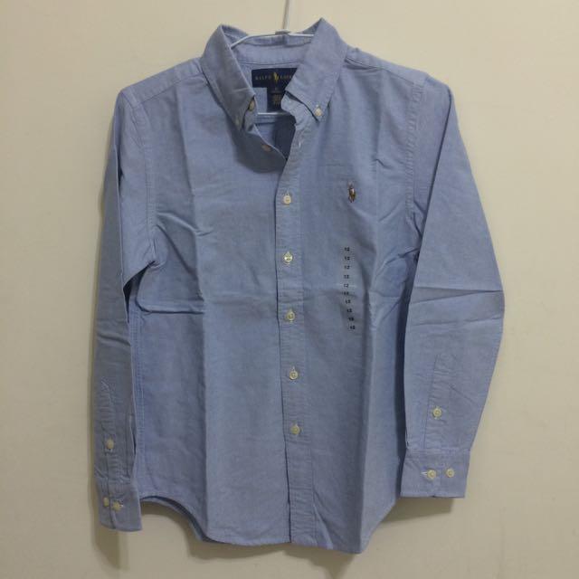 Ralph Lauren Polo男童彩色小馬刺繡藍色素色牛津長袖襯衫 12