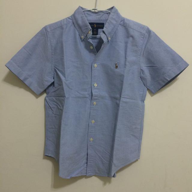 Ralph Lauren Polo男童彩色小馬刺繡藍色素色牛津短袖襯衫 M