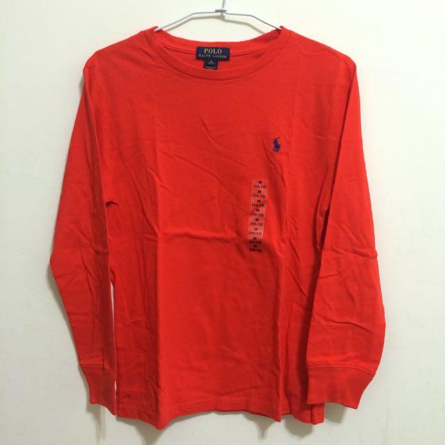 Ralph Lauren Polo男童寶藍小馬刺繡橘紅色素色長袖 M