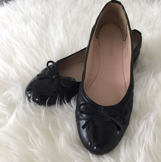 T. Taccardi Black Quilted Ballet Flats