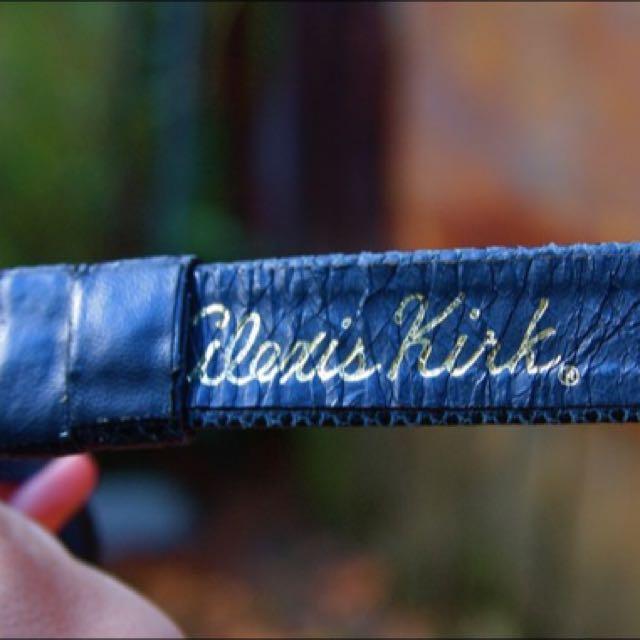Vintage Alexis Kirk Navy Snakeskin Belt