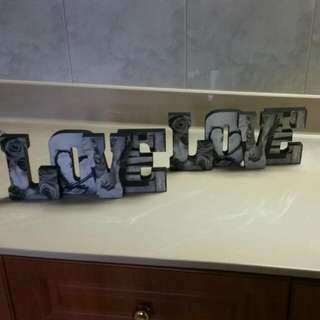 Set Of 2 Love Word . It Could Be Stood Up Or Hung On Wall It Has Two Hooks On The  Back