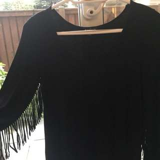 Express Black Fringe Shirt