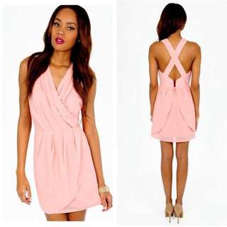 Pink Wrap Dress From Tobi- Small