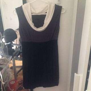 Flattering Black White And Grey Dress