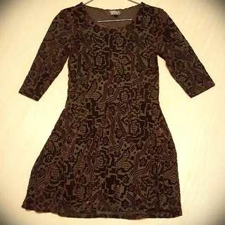 Black And Purple Velvet Dress