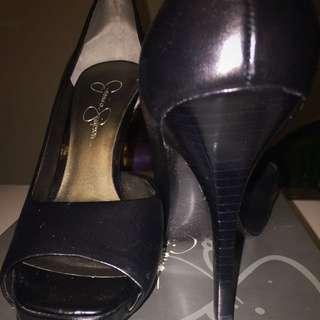 Jessica Simpson Josette Peep Toe Black Size 7.5