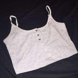 Grey Button-Up Crop Top
