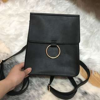 Black Backpack With Ring Details