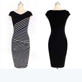 US Style Striped Cotton Combined Formal Dress