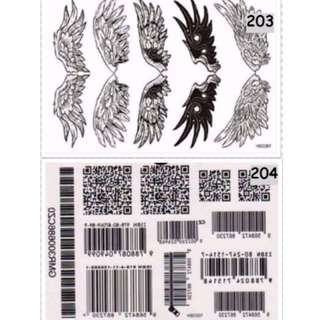 Angel Wing, Barcode Temporary Tattoo