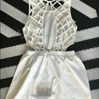 White Backless Cut Out Playsuit S New With Tags