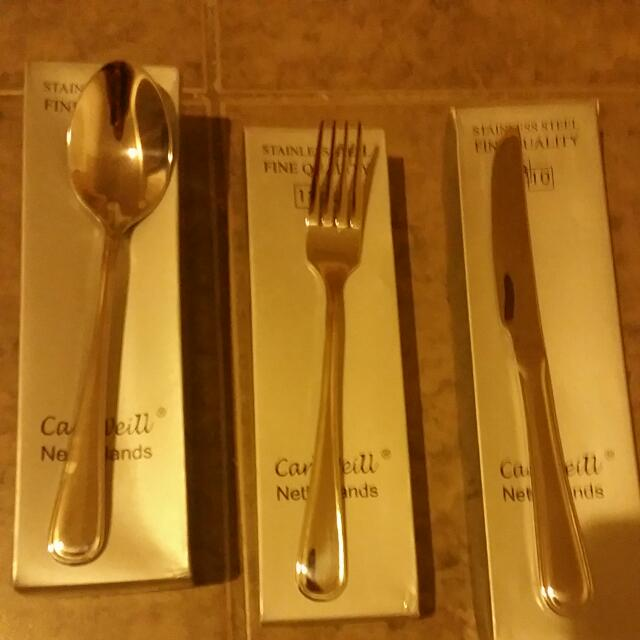 12 Pcs Of Silver Carl Weill Fork Knife And Spoon In Original Packaging