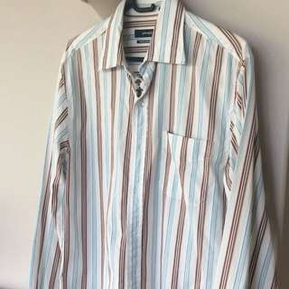 MARCS stripes long sleeves men's shirt 100% cotton size S