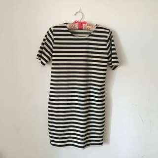 黑白條紋one piece洋裝