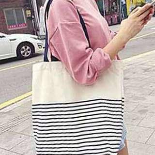 條紋帆布包/單肩帆布包/購物袋/環保袋
