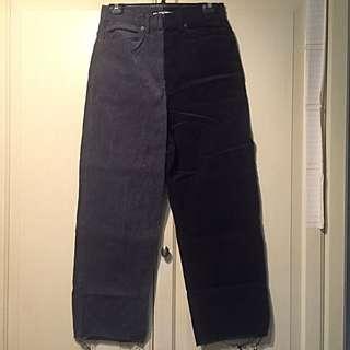近全新[從前從前 Once Upon A Time ] 雙色褲管寬褲M號