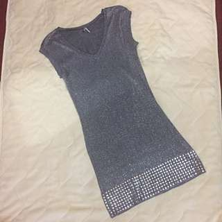 Sequined Silver Dress