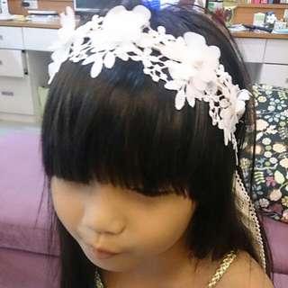 蕾絲花童頭飾米白