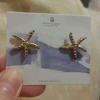 美人魚的好朋友海星星耳環(金)