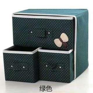 Storage Box Set Polka Dots With Ribbon