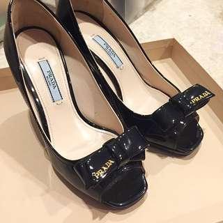 BNIB Prada Black Logo Bow Peep Toe Wedges Heels