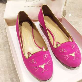 Charlotte Olympia Pink Cat Face Ballet Flats Shoes