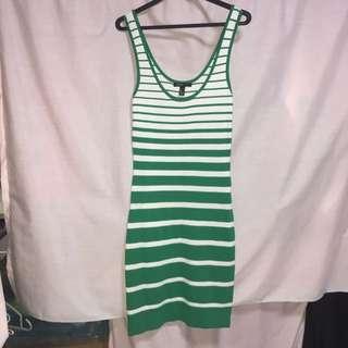 Mango Green Colour Striped Dress