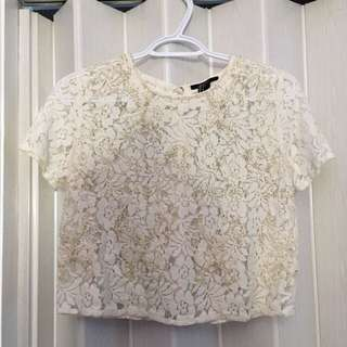 F21 Lace Beaded Crop Top