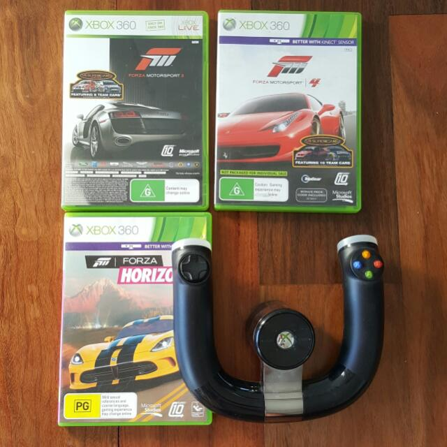 3x Forza Games And Wireless Wheel Xbox 360