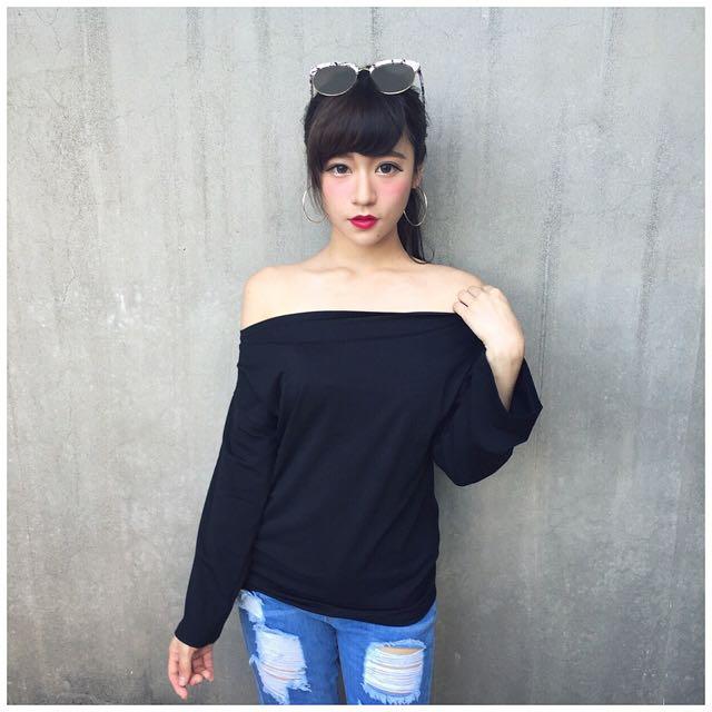 #672 純棉素面微寬鬆上衣(黑)