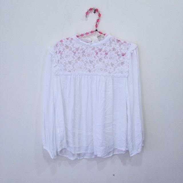 蕾絲花邊長袖上衣*白