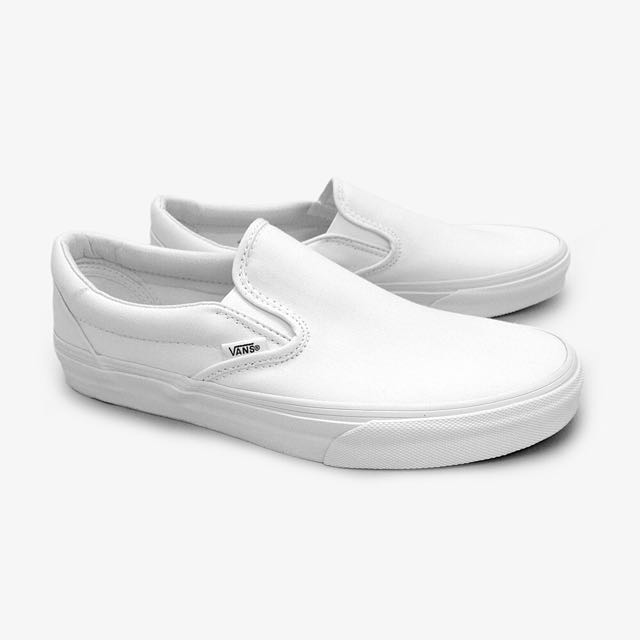 all white vans slip on
