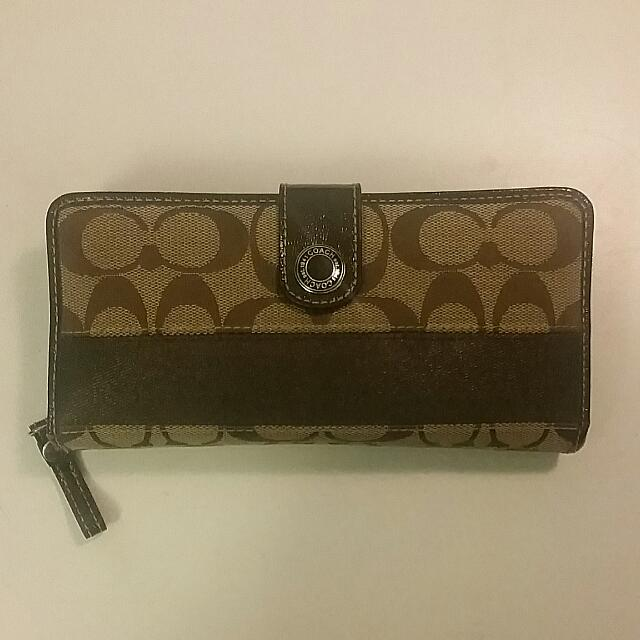 Authentic Brown Coach Long Wallet