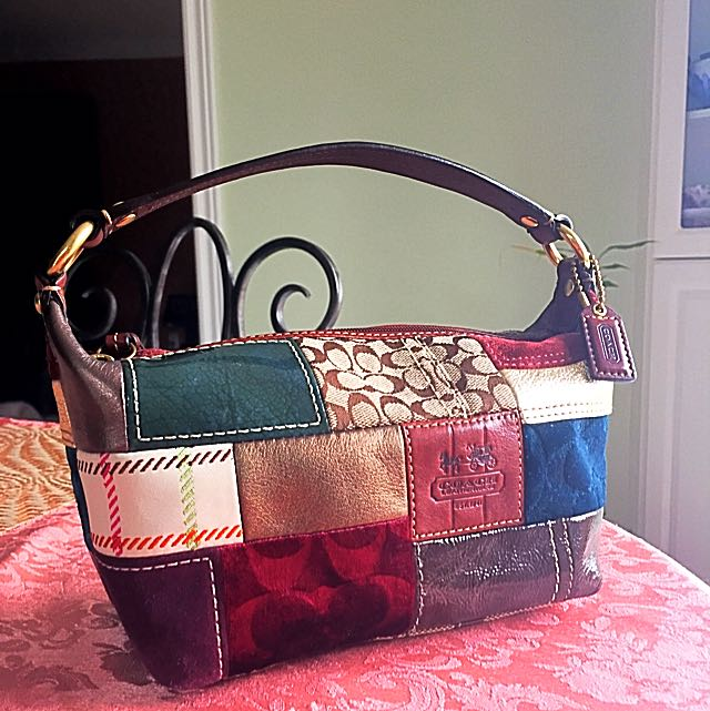 Authentic Coach Stagecoach Edition Holiday Leather Patchwork Purse