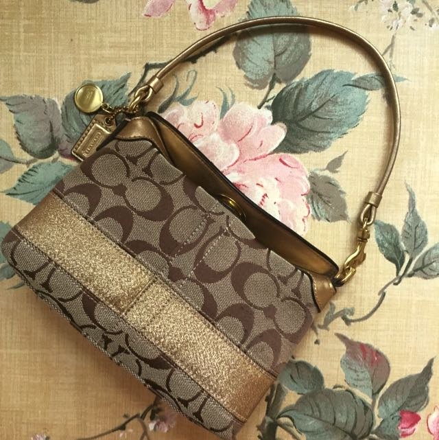Authentic Small Brown & Metallic Gold Coach Purse